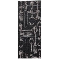 Dekoria Dywan Cottage Cutlery black/wool 60x180cm, 60 × 180 cm