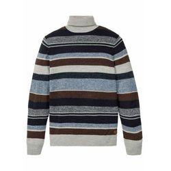 Sweter z golfem z domieszką wełny bonprix niebiesko-brązowo-beżowy w paski