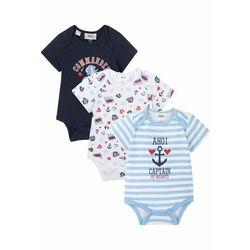 Body niemowlęce z krótkim rękawem (3 szt.), bawełna organiczna bonprix niebiesko - biały