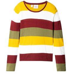 Sweter dzianinowy w szerokie paski bonprix biało-czerwono-oliwkowo-żółty