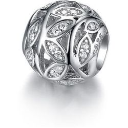 Rodowany srebrny charms do pandora gałązki listki białe cyrkonie srebro 925 GS026