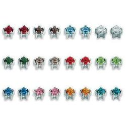Kolczyki 113 Kpl kamieni w pazurkach kolor srebrny
