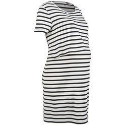 Sukienka shirtowa ciążowa i do karmienia bonprix czarno-biel wełny w paski