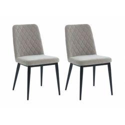 Zestaw 2 krzeseł PILA – pikowane – tkanina i metal – kolor szary