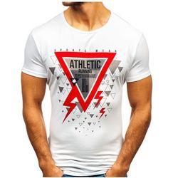 T-shirt męski z nadrukiem biały Denley KY08