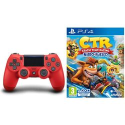 Sony DualShock 4 v2 (czerwony) + Crash Team Racing Nitro-Fueled