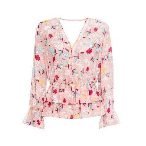 Bluzki, Bluzka szyfonowa bonprix jasnoróżowy vintage w kwiaty