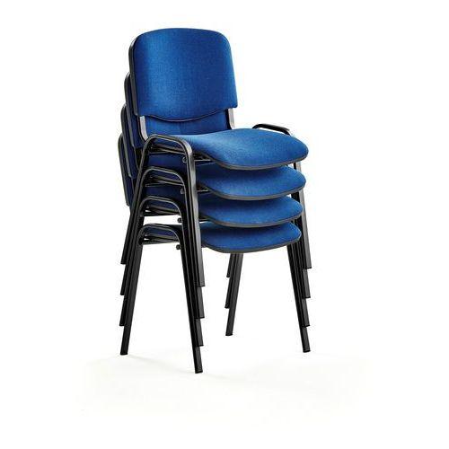Fotele i krzesła biurowe, Krzesło konferencyjne NELSON, 4 szt., tkanina, niebieski, czarny