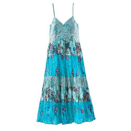 Sukienki dla dzieci, Długa sukienka dziewczęca w kwiaty bonprix turkusowy z nadrukiem