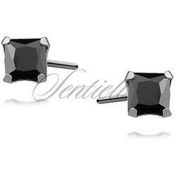 Srebrne kolczyki pr.925 cyrkonia czarna 4 x 4mm kwadratowe - 4 mm x 4 mm