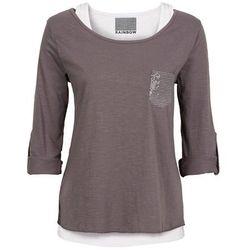 Shirt z topem bonprix ciemnoszaro-biały