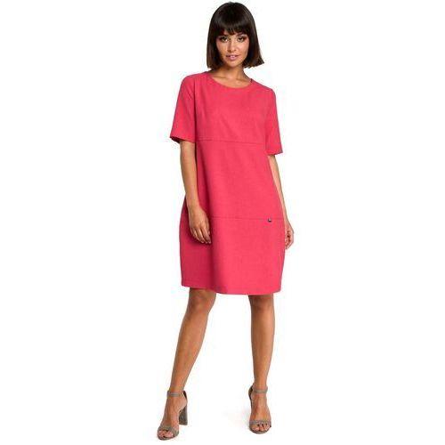 Suknie i sukienki, Różowa Casualowa Sukienka Bombka przed Kolano