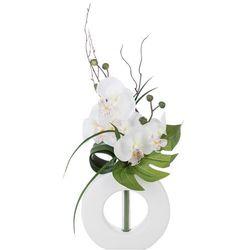 Sztuczna orchidea, w oryginalnej doniczce, sztuczne kwiaty, uniwersalna dekoracja, ozdoba, białe kwiaty, biała doniczka,