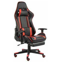Czarno-czerwony fotel gamingowy z podnóżkiem - Epic Gamer