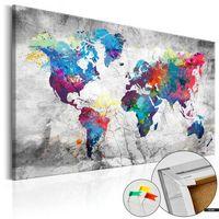 Tablice szkolne, SELSEY Tablica korkowa Mapa świata: Szary styl