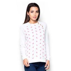 Bluza z Wzorzystym Przodem we Flamingi
