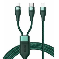 Baseus 2w1 kabel USB Typ C - USB Typ C (5 A - 100 W / 65 W / 18 W) 1,5 m Power Delivery Quick Charge zielony (CA1T2-C06)