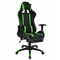 Fotele dla graczy, Czarno-zielony fotel gamingowy z podnóżkiem - Coriso