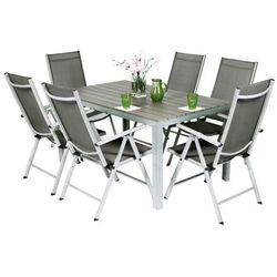 Meble ogrodowe składane aluminiowe MODENA Stół i 6 krzeseł - Srebrny - srebrny Zestaw Modena (-7%)