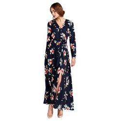 Sukienka maxi z kopertowym dekoltem - kwiaty/granat - S104