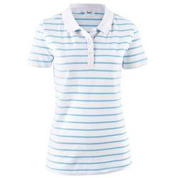 Shirt polo w paski, krótki rękaw bonprix biało-jasnoniebieski w paski