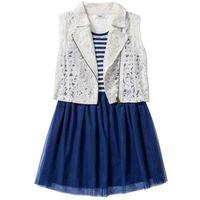 Zestawy odzieżowe dziecięce, Sukienka + kamizelka koronkowa (2 części) bonprix kobaltowo-biel wełny w paski