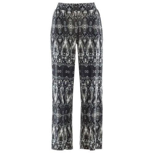 Spodnie damskie, Szerokie spodnie z dżerseju bonprix czarno-biały wzorzysty