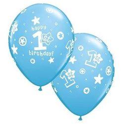 Balony z nadrukiem 1st Happy Birthday niebieskie - 30 cm - 5 szt.