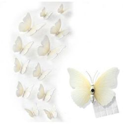 Ozdobne motylki białe/ecru - 11 x 9 cm - 12 szt.