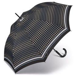 Happy Rain Essentials Classic długi damski parasol automatyczny Long AC - czarny w kropki