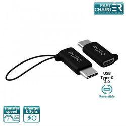 PURO Adapter Micro USB to USB-C - Adapter Micro USB na USB-C 2.0 do ładowania & synchronizacji danych, 2A, 480 Mbps + linka bezpieczeństwa (czarny)