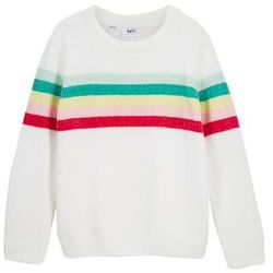Sweter dziewczęcy z szenili bonprix biel wełny w paski