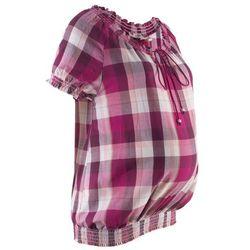 Tunika ciążowa z bawełny bonprix lila w kratę