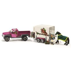 Półciężarówka z koniem i przyczepą