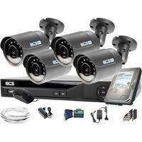 Zestawy monitoringowe, 4x BCS-B-MT22800 1920x1080 FullHD BCS Basic zestaw do monitoringu Dysk 1TB Akcesoria