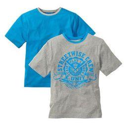 Koszulka ( 2szt.) bonprix jasnoszary melanż - turkusowy