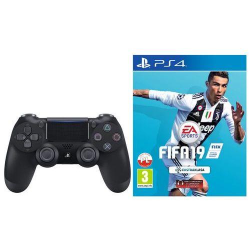 Gamepady, Kontroler SONY DualShock 4 Czarny + FIFA 19 + DARMOWY TRANSPORT!