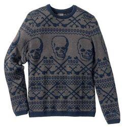 Sweter z domieszką wełny Slim Fit bonprix ciemnoniebiesko-szary wzorzysty
