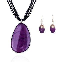 Komplet z fioletowymi kamieniami: naszyjnik i kolczyki