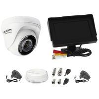 """Zestawy monitoringowe, Zestaw do monitoringu kamera HWT-T110 kopułowa monitor 4,3"""" zasilacz przewód podgląd na monitorze"""