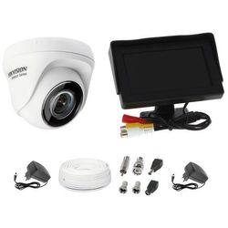"""Zestaw do monitoringu kamera HWT-T110 kopułowa monitor 4,3"""" zasilacz przewód podgląd na monitorze"""