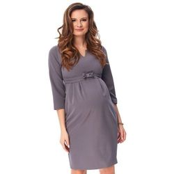 ubrania ciążowe Szara wizytowa sukienka ciążowa Fergie Piękny Brzuszek