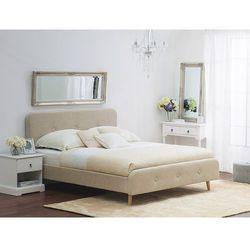 Łóżko beżowe - 140x200 cm - łóżko tapicerowane - RENNES