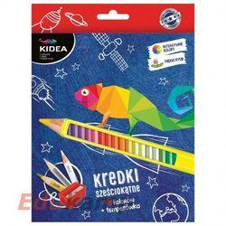 Kredki sześciokątne 48 kolorów z temperówką Kidea