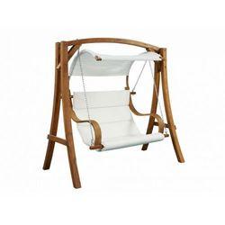 Huśtawka ogrodowa 2-osobowa MACAO, z drewna i tkaniny – tkanina w kolorze białym