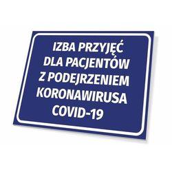 Tabliczka izba przyjęć dla pacjentów z podejrzeniem koronawirusa covid-19