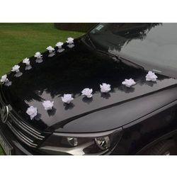 Różyczki białe do przylepiania na samochód - 9 cm - 24 szt.