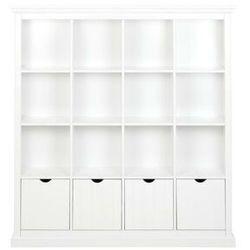 Biblioteczka GUERANDE - 16 wnęk i 4 szuflady - Biała sosna