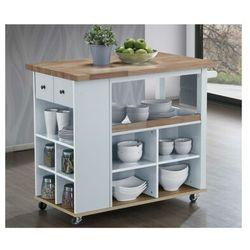 Barek kuchenny na kółkach hannae – 2 szuflady i 1 półka – drewno kauczukowe – kolor biały i dębowy marki Vente-unique