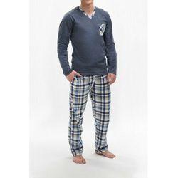 Bawełniana piżama męska MARTEL 302 Bartek granatowa, kolor niebieski